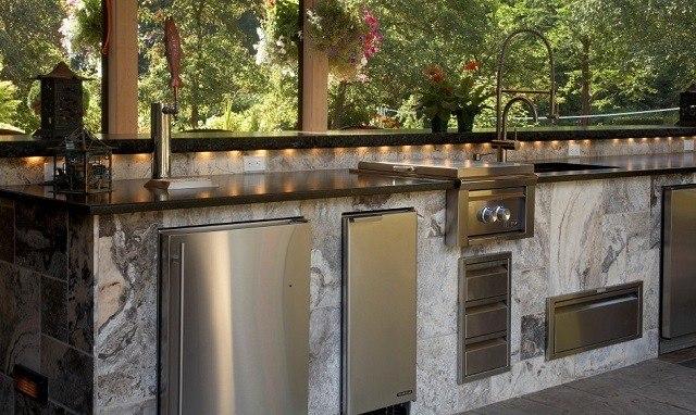 lujosa cocina jardin muebles metal
