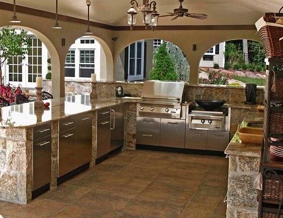 luminarias cocina exterior piedra ventiladores
