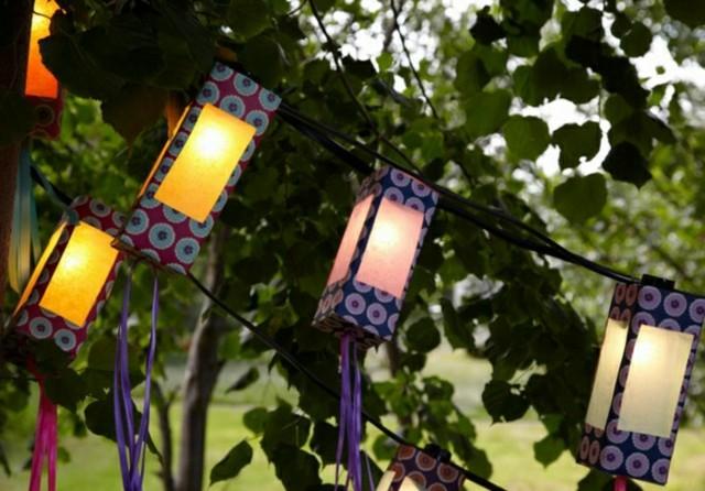 luz patio faroles colores manualidad