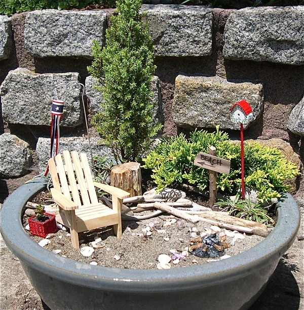 planter decorated wooden deck chair