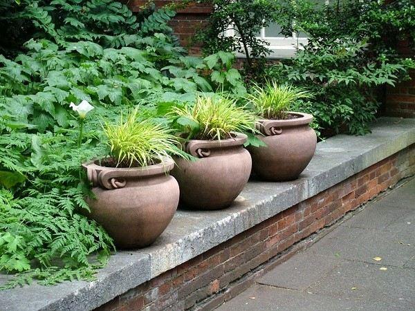 maceteros jardín anchos tres