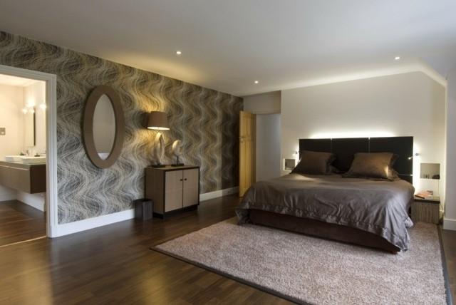 madera habitación espejo lámparas marrón