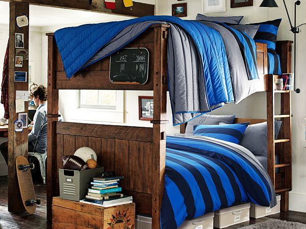 dormitorio para chicos sabanas azules dos camas