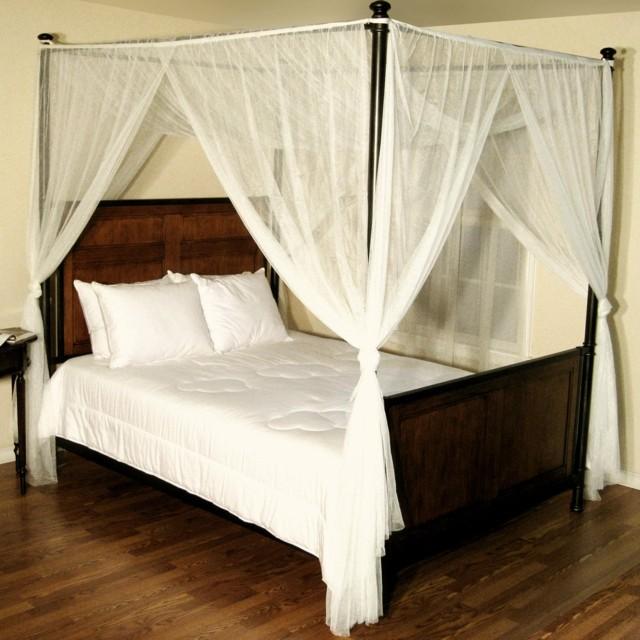 madera laca dosel blanco transparente moderno dormitorio