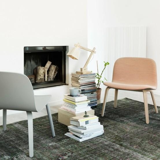 madera lampara lectura salon