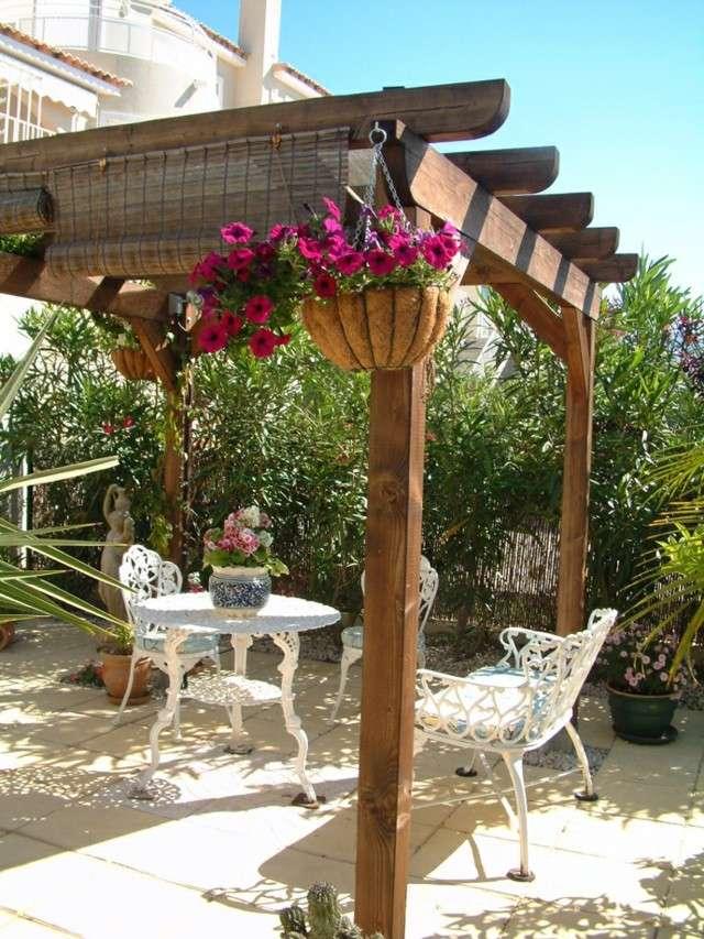 pérgola madera pergola bonita decoracion flores persianas