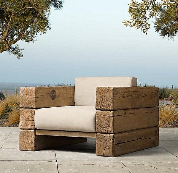madera silla acolchonada jardin terraza