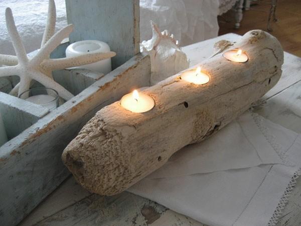 madera tronco flotante tres velas