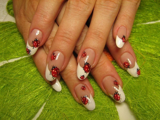 manicura interesante francesa decoracion mariquitas idea