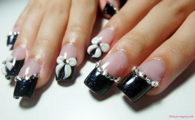manicura francesa negra piedras preciosas modrno lazos