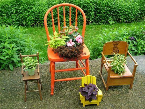 manualidades originales macetas plantas sillas
