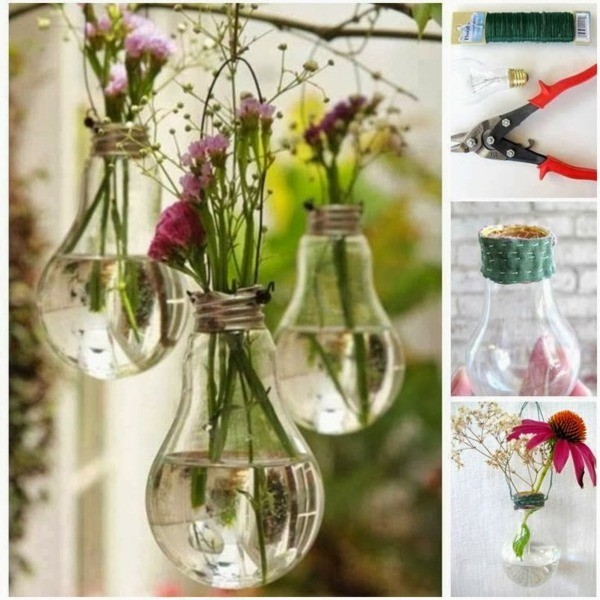 manualidades originales plantas lampara flores
