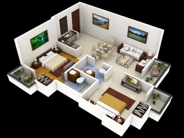 Planos de casas y apartamentos en 3 dimensiones for Diseno apartamentos duplex pequenos
