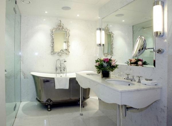 marmol bañera moderna cristal lamparas flores