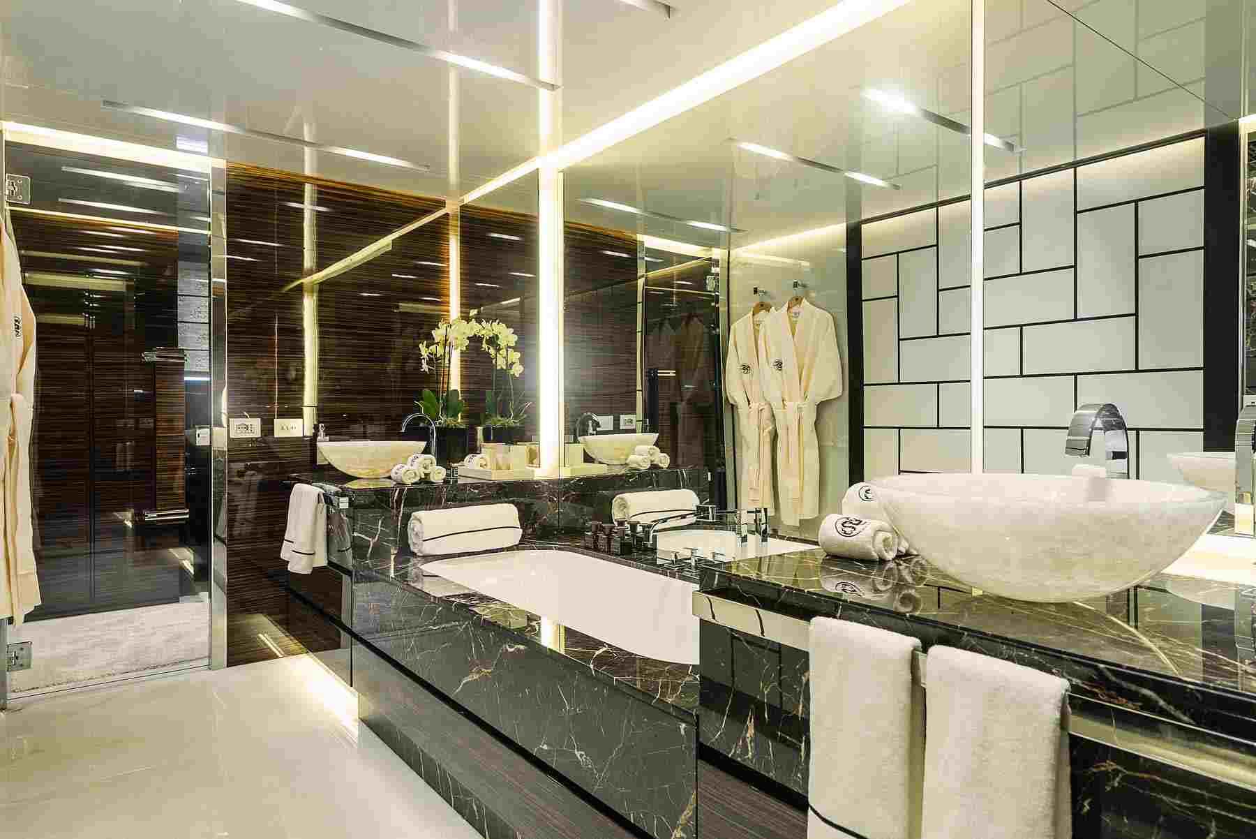 marmol negro idea baño lujo moderno perfecto