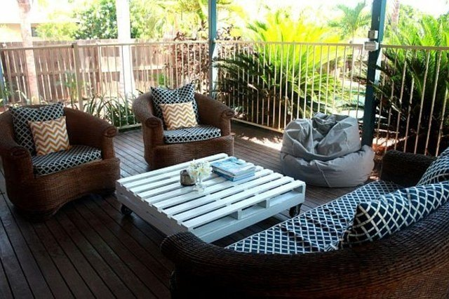 mesa auxiliar palet blanca terraza diseño