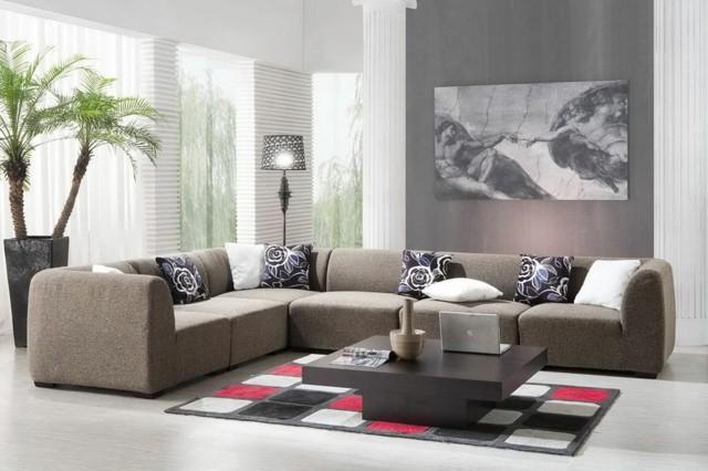 mesa baja marron alfombra cuadros salon diseño idea interesante