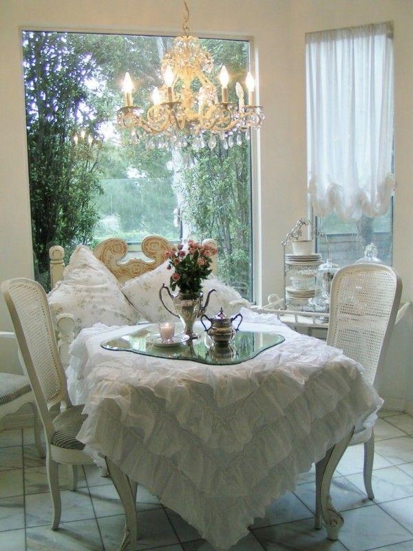 mesa blanca comedor shabby chic