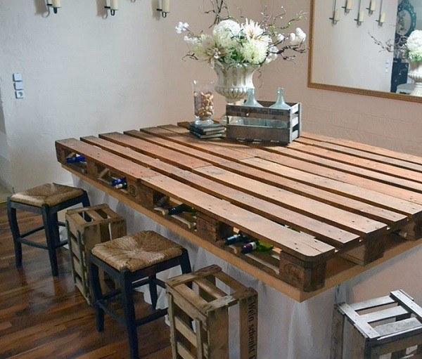 mesa comedor palets madera taburetes