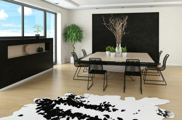 mesa comedor salón moderna alfombra