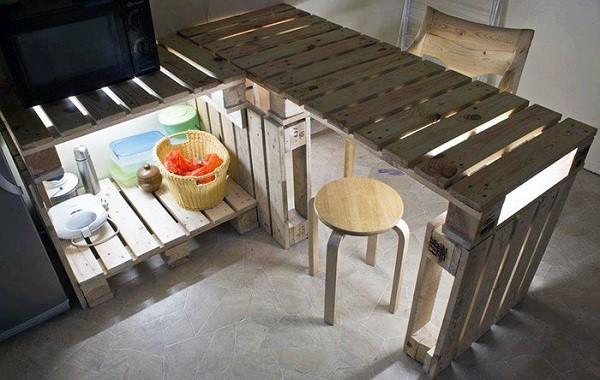 mesa isla cocina palets madera