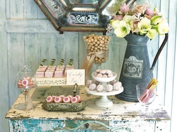 mesa shabby chic dulces flores