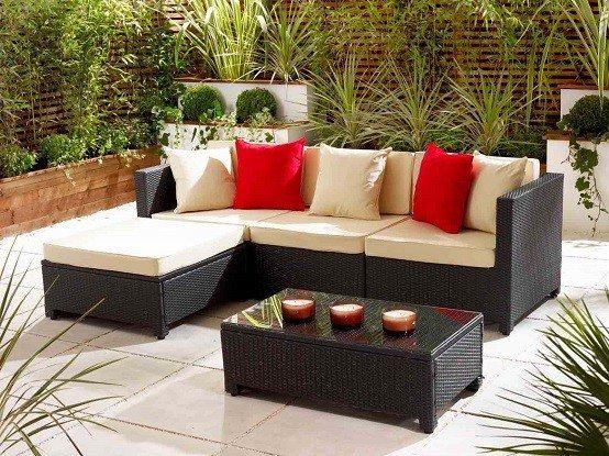 mesa terraza mimbre plantas jardin decoracion