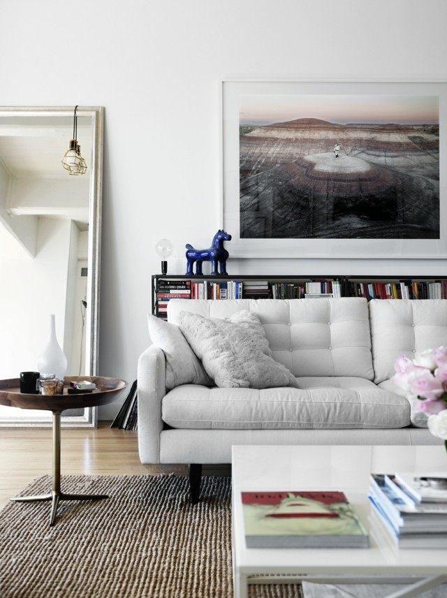 mesita sofa interesante cuadro grande bonita ideamoderna