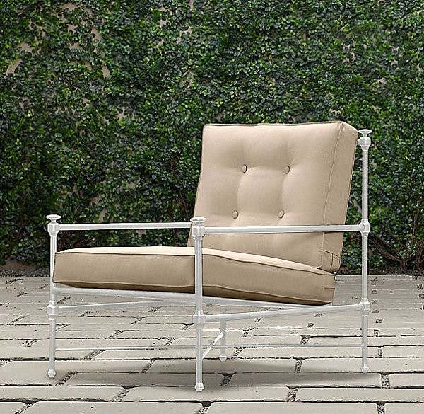 metal jardin silla cojines moderna adoquines