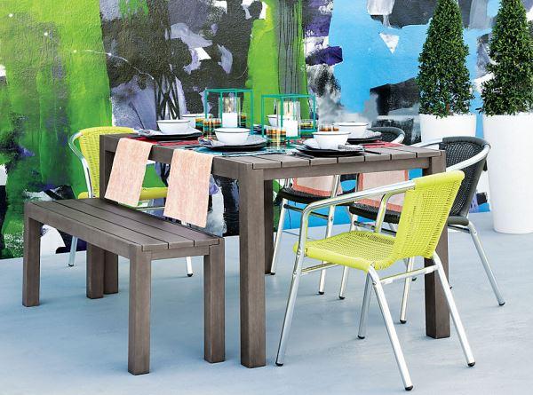 metal silla madera exterior jardin