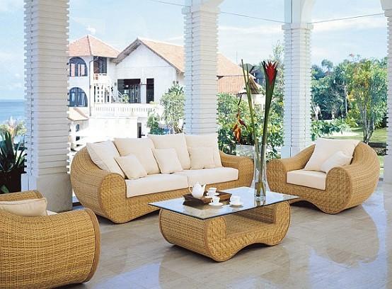 Muebles del patio colorido de mimbre for Sofas mimbre exterior
