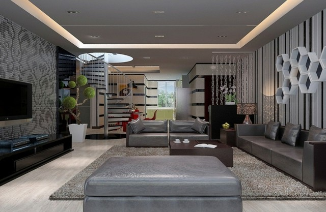 minimalista idea salon muebles amplio gris cuero