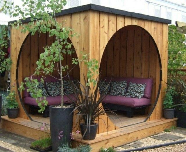 mobiliario moderno terraza madera sofa