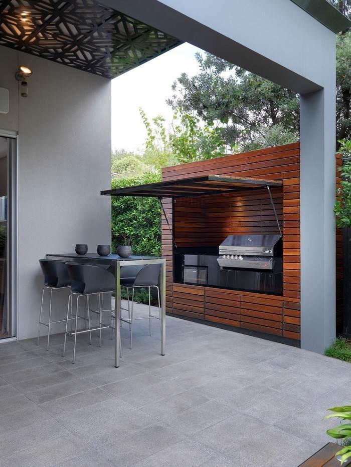 Barbacoas de obra y cocinas exteriores for Parrillas para casas modernas