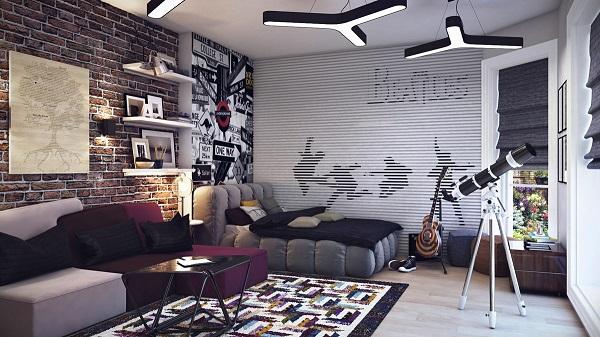 moderna habitación juvenil papel pared beatles