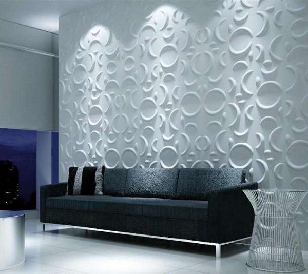 moderna pared blanca relieves lunas