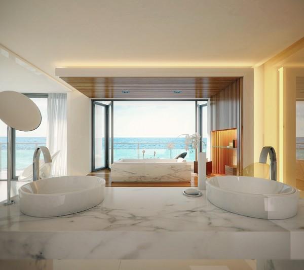 moderno baño cristales mármol diseño ideas