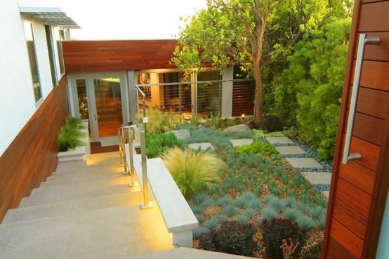 moderno camino paisajismo decoracion jardin luminarias