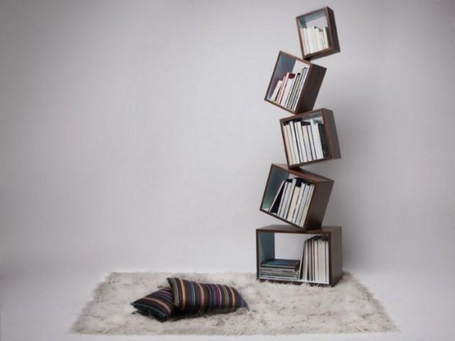 moderno interesante cuadrados libros estanteria innovadora