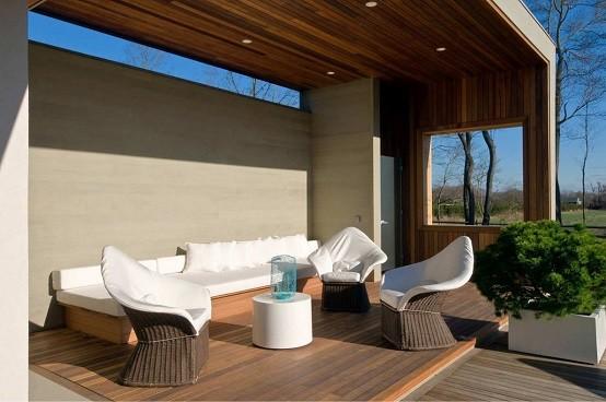 moderno jardin plataformas cojines madera exterior