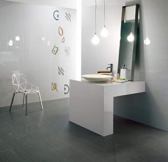 moderno textura silla espejo lamparas
