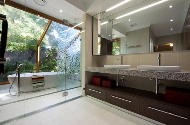 mueble baño exterior techo cristal