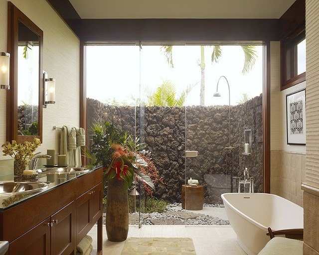 mueble baño pared piedras ducha