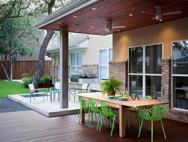 mueble de jardin mesa sillas verdes porche