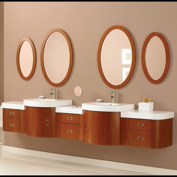 mueble lavabos espejos redondos madera