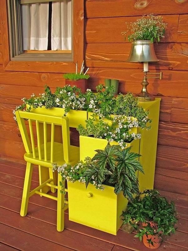 mueble buro plantas macetas lampara