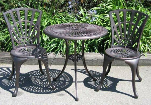 muebles patio jardín acero inoxidable negros
