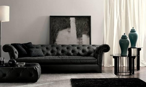 muebles blanco negro salón cuadro