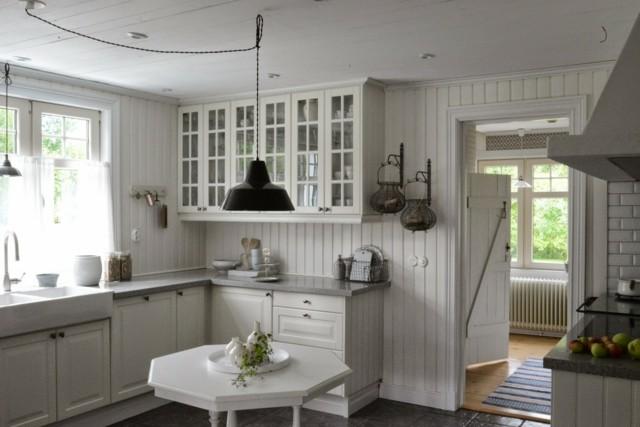muebles blancos cocina vinatge puertas armarios cristal