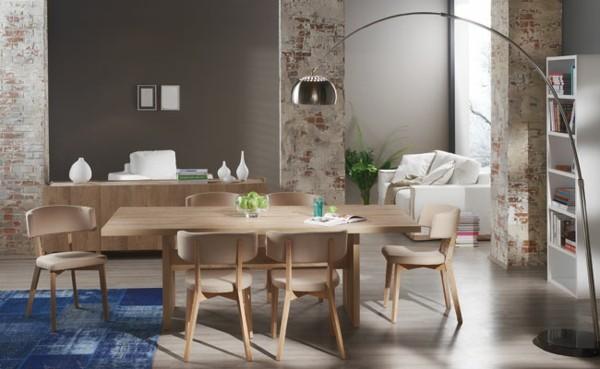 muebles comedor pared ladrillos moderna